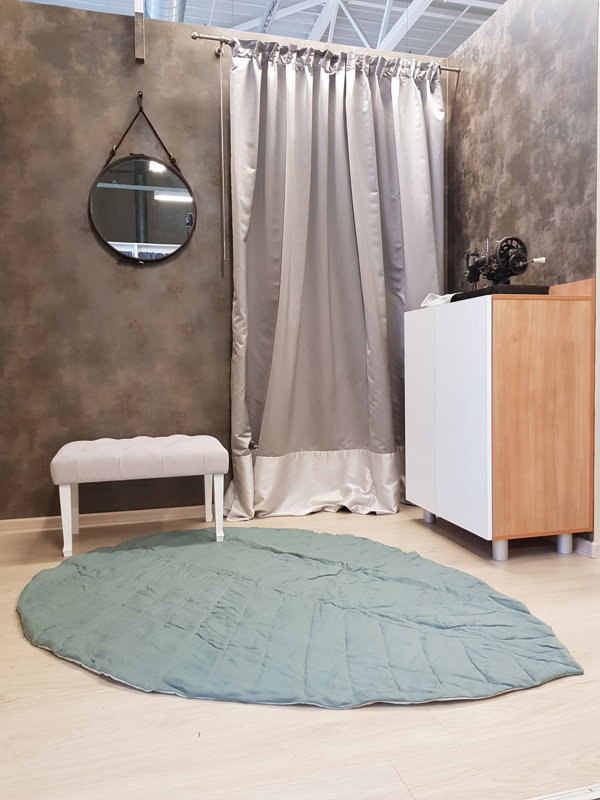 """Natūralaus lino užklotas-kilimėlis """"LAPAS"""", žalias"""