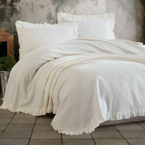 Lovatiesė su pagalvių užvalkalais ESTILA Cream 220x240 cm