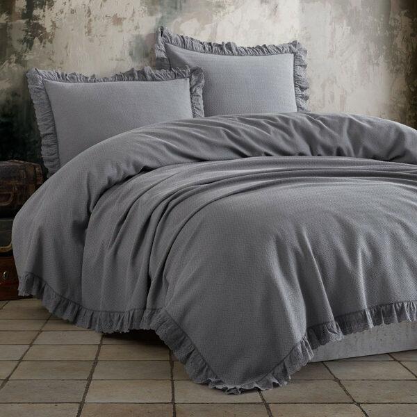 Lovatiesė su pagalvių užvalkalais ESTILA Grey 220x240 cm