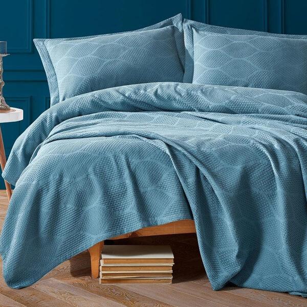 Lovatiesė su pagalvių užvalkalais VERA Blue 220x240 cm