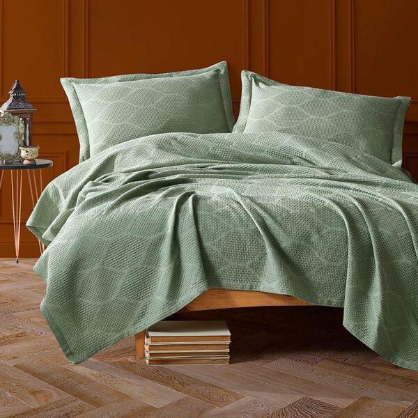 Lovatiesė su pagalvių užvalkalais VERA Green 220x240 cm
