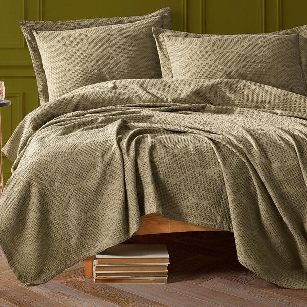Lovatiesė su pagalvių užvalkalais VERA Khaki 220x240 cm
